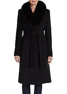 Ellen Tracy Belted Fox Fur-Collar Wrap Coat