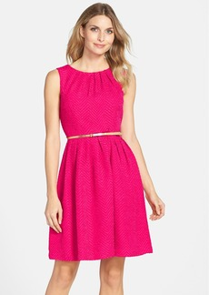 Ellen Tracy Belted Herringbone Stretch Fit & Flare Dress (Regular & Petite)