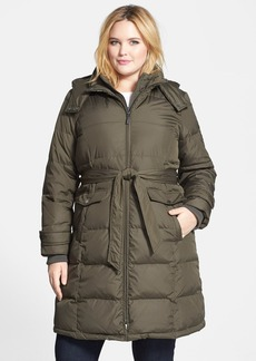 Ellen Tracy Belted Hooded Down Walking Coat (Plus Size)