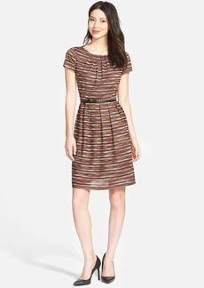 Ellen Tracy Belted Mélange Knit Fit & Flare Dress