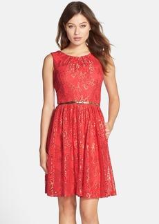 Ellen Tracy Belted Metallic Lace Fit & Flare Dress