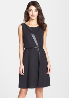 Ellen Tracy Belted Mixed Media Fit & Flare Dress