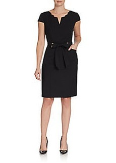 Ellen Tracy Belted Notch Collar Dress