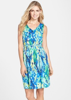 Ellen Tracy Belted Print Cotton Fit & Flare Dress