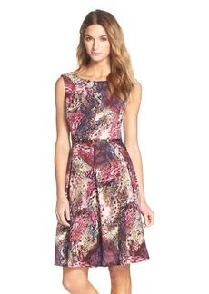 Ellen Tracy Belted Print Fit & Flare Dress