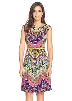 Ellen Tracy Belted Print Jersey Fit & Flare Dress