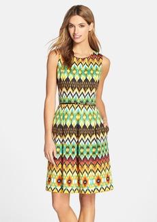 Ellen Tracy Belted Print Scuba Fit & Flare Dress