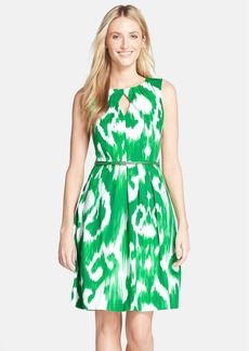 Ellen Tracy Belted Print Voile Fit & Flare Dress
