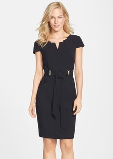 Ellen Tracy Belted Stretch Sheath Dress (Regular & Petite)