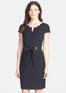 Ellen Tracy Belted Stretch Sheath Dress (Regular & Petite)