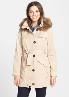 Ellen Tracy Belted Trench Coat with Detachable Faux Fur Trim Hood and Liner (Online Only)