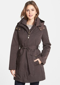 Ellen Tracy Belted Hooded Trench Coat