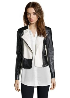 Ellen Tracy black and creme faux leather colorblock moto jacket