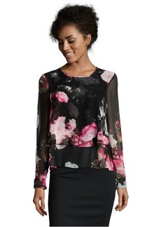 Ellen Tracy black and pink floral chiffon tiered blouse