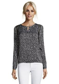 Ellen Tracy black and white chevron print woven keyhole lace trim blouse