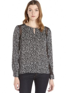 Ellen Tracy black and white printed woven keyhole lace trim blouse