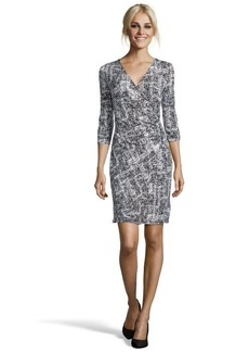Ellen Tracy black and white stretch jersey chain accent wrap dress