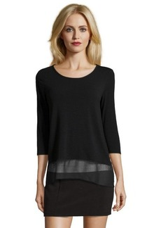 Ellen Tracy black knit scoop neck hi-low top