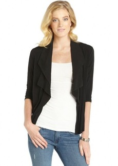 Ellen Tracy black open ruffle front cardigan