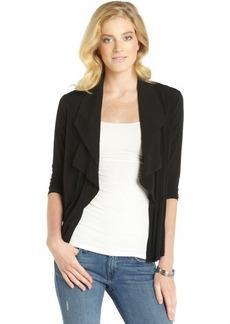 Ellen Tracy black stretch woven ruffle open front cardigan