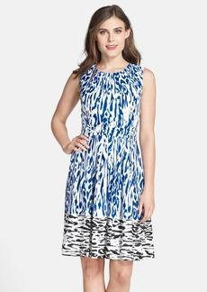Ellen Tracy Border Print Twill Fit & Flare Dress