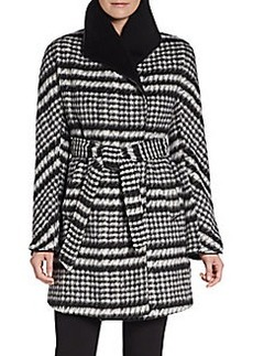 Ellen Tracy Brushed Houndstooth Wrap Coat