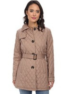 Ellen Tracy Button Front Quilted Trench