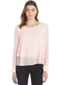 Ellen Tracy cameo pink crepe woven long sleeve tiered blouse
