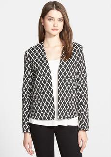 Ellen Tracy Collarless Diamond Jacquard Jacket (Regular & Petite)