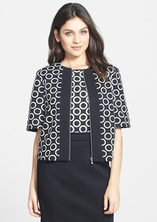 Ellen Tracy Colorblock Piqué & Ponte Crop Jacket
