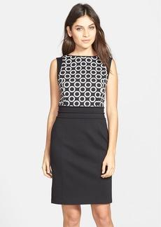 Ellen Tracy Colorblock Piqué & Ponte Sheath Dress (Regular & Petite)
