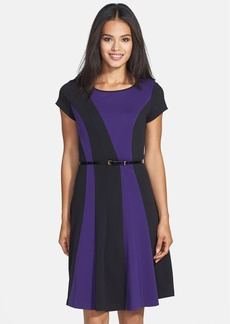Ellen Tracy Colorblock Ponte Fit & Flare Dress
