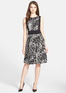 Ellen Tracy Colorblock Print Fit & Flare Dress (Regular & Petite)