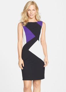 Ellen Tracy Colorblock Sleeveless Sheath Dress
