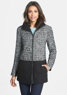 Ellen Tracy Colorblock Tweed Front Zip Coat