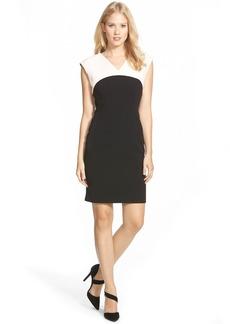 Ellen Tracy Colorblock V-Neck Sheath Dress (Regular & Petite)