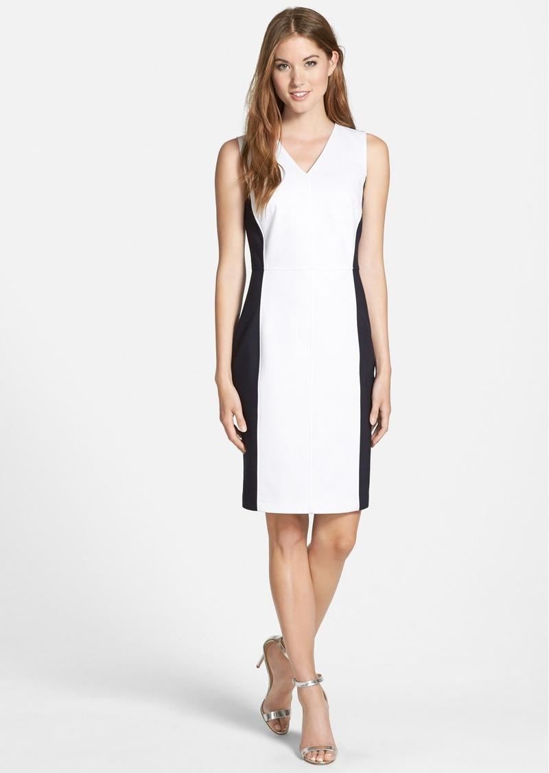 Ellen Tracy Colorblock V Neck Sheath Dress