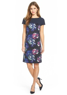 Ellen Tracy Contrast Yoke Short Sleeve Dress (Regular & Petite)