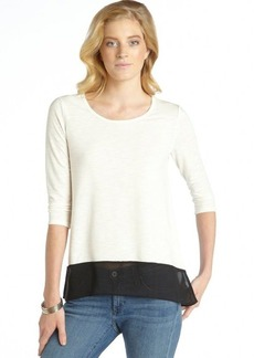 Ellen Tracy cream and black scoop neck hi-low top