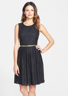 Ellen Tracy Dotted Lace Fit & Flare Dress