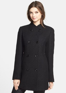 Ellen Tracy Double Breasted Textured Wool Blend Coat (Regular & Petite) (Online Only)