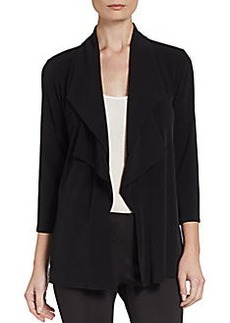 Ellen Tracy Drape-Front Woven Cardigan Top