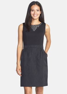 Ellen Tracy Embellished Neck Ponte & Jacquard Sheath Dress (Regular & Petite)
