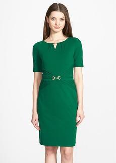 Ellen Tracy Embellished Pleated Jersey Sheath Dress (Regular & Petite)