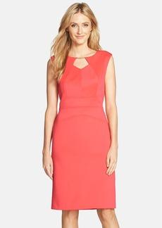 Ellen Tracy Embellished Scuba Sheath Dress