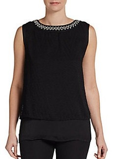 Ellen Tracy Embellished Tiered Top