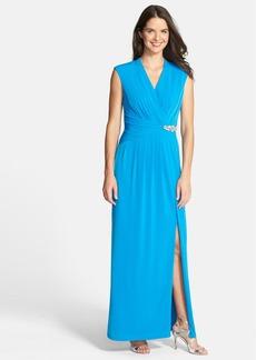 Ellen Tracy Embellished V-Neck Jersey Gown