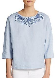 Ellen Tracy Embroidered Linen Top