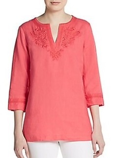 Ellen Tracy Embroidered Linen Tunic