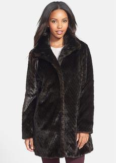 Ellen Tracy Faux Fur A-Line Coat